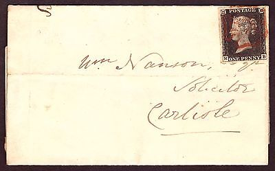 1d Black (MB) Plate 1b Entire: Dec 9th 1840 Wigton to Carlisle