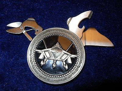 United States Air Force Round Challenge Coin Knife,file And Scissor Cigar Cutter