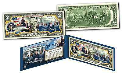 Donald Trump 45th President * THE FIRST FAMILY * U.S. Genuine $2 Bill THE TRUMPS