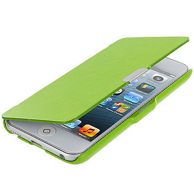 For iPod Touch 6th Gen 6G Wallet Folio Cover Hard Case Holder New Neon Green