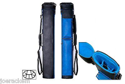 Delta 3x6 BLUE Transformer Case - Memory Foam - Leather Cue Case
