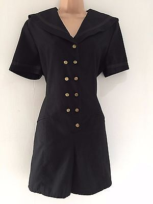 Vintage 80's Retro Black Sailor Collar Anchor Buttons Romper Playsuit Size 12-14