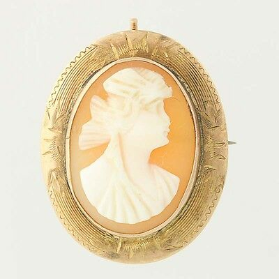 Vintage Carved Shell Cameo Brooch - 10k Yellow Gold Pin AS IS