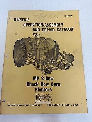 Vintage Mpls Moline Owner's Operation Repair Catalog Mp 2 Row Check Corn Planter