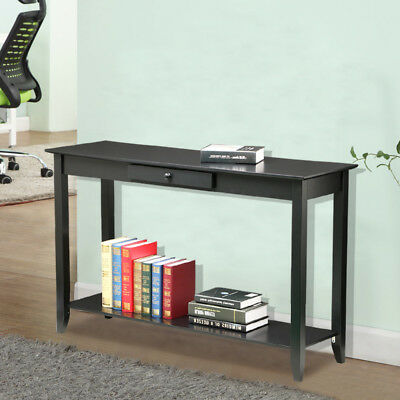 Wood Console Table Accent Shelf Sofa Stand Entryway Living Room Furniture Black
