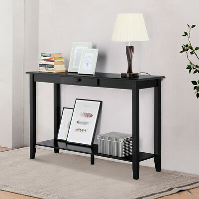 Wood Console Table Hall Table with One Drawer Living Room Entryway Espresso