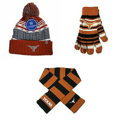 Texas Longhorns Glove Solid Knit Altitude Beanie Hat And Striped Scarf 66565