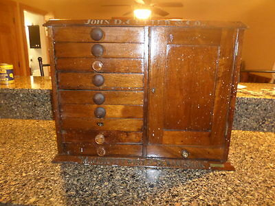 john D cutter and co antique machine twist and sewing silk box 1875