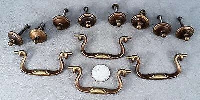 4 Sets Antique Heavy Brass Drawer Pulls - Bail Handles & Rosettes - Estate Find
