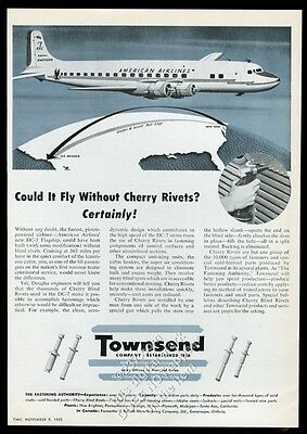 1953 American Airlines DC-7 plane photo Townshend cherry rivets vintage print ad