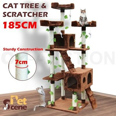 185cm Large Cat Scratching Post Tree Gym House Scratcher Pole Toy Multi Level