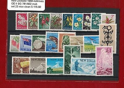 1960 New Zealand Definitives QE II SG 781/802 muh set of 23 nice clean