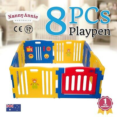 Baby Playpen Kids Toddler 8 Pc Plastic Interactive Playpen W/ Safety Gate Blue