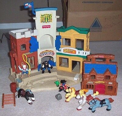 Lot Fisher Price 1994 Western Town with Horses Cowboys Accs.