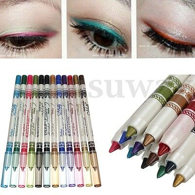 12 Couleur Crayon Eyeliner Lèvres Yeux Paupières Eye Liner Glitter Maquillage