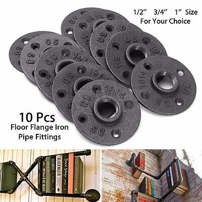 10x 1/2'' 3/4'' 1'' Malleable Floor Flange Iron Pipe Fitting Threaded Wall Mount