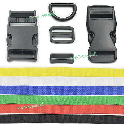 25mm Strap Webbing Polypropylene Triglides Buckle D Rings Cotton Belt Clip Craft