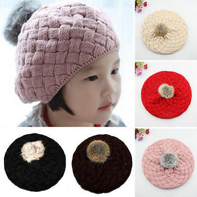 Cute Child Baby Warm Winter Knit Beanie Fur Pom Hat Crochet Ski Beret Cap