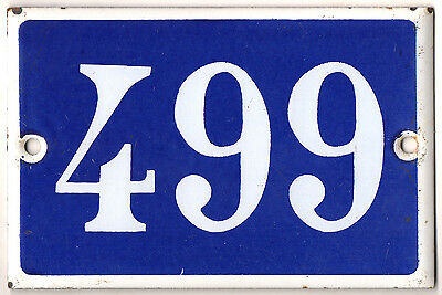 Old blue French house number 499 door gate plate plaque enamel metal sign steel