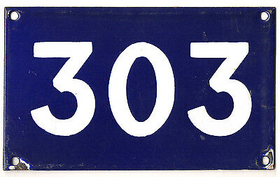 Old Australian used house number 303 door gate enamel metal sign in French blue