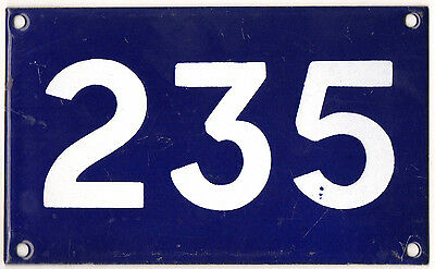 Old Australian used house number 235 door gate enamel metal sign in French blue