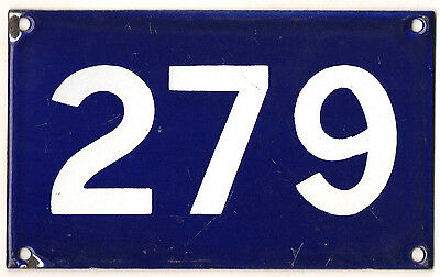 Old Australian used house number 279 door gate enamel metal sign in French blue