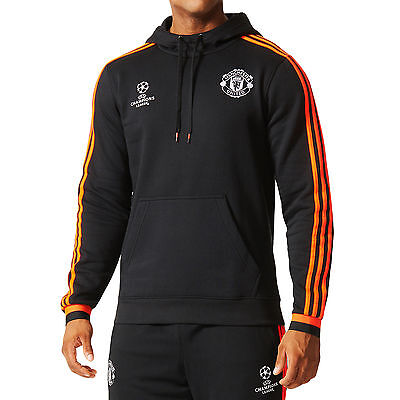 adidas Manchester United MUFC Mens UCL Champions League Hooded Hoodie Jumper