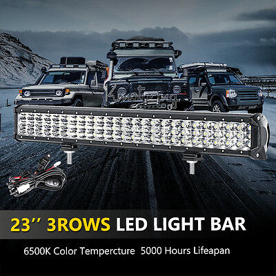 "23"" 720W PHILIPS Spot&Flood Triple Rows LED WORK LIGHT BAR 4WD Driving Lamp"
