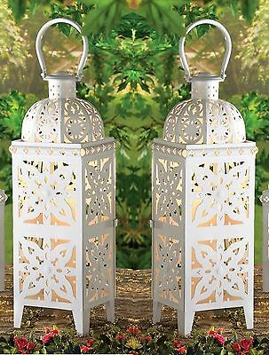 Set of 2 Giant White Lacy Cutout Medallion Lanterns 25 in. Tall