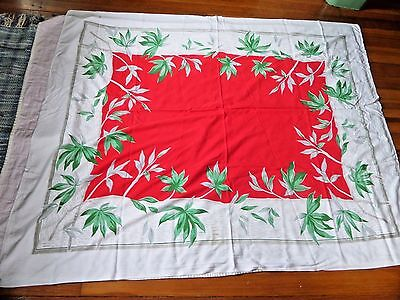 Vtg Tablecloth Red Center Green/gray leaves on white 50 by 63""