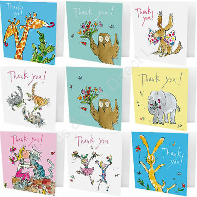 Pack of 10 Quentin Blake Thank You Cards/Note Cards Dog Giraffe Girl Kissing Cat