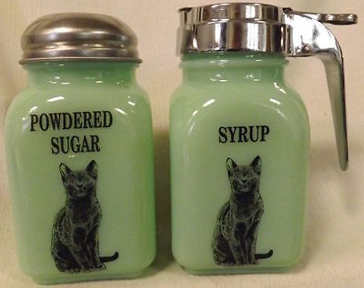 Jade Green Glass Breakfast Set Black Cats - Syrup & Powdered Sugar
