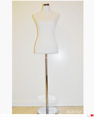 Female Lady Dress Mannequins Display Adjustable Chrome Stand Size 4/6/8/12/14