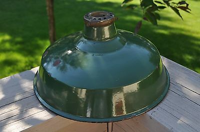 """VINTAGE  Green Porcelain Industrial Light Shade 12""""x 5 W/THREADED SHADE FITTER"""
