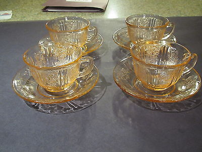 Vintage 1930's Federal Glass pink Sharon/Cabbage rose 4 cup & saucer sets-excond