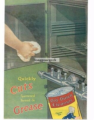 1917 OLD DUTCH CLEANSER Cleaning gas Oven art Dutch Girl Vtg Print Ad