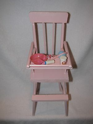 Pink Wooden Doll High Chair With Extras