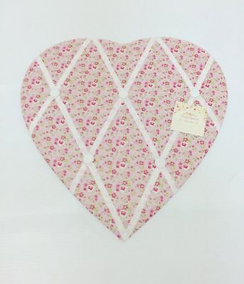 Ditsy Floral Fabric Heart Padded Memo Notice Photo Pin Board ~ Pink