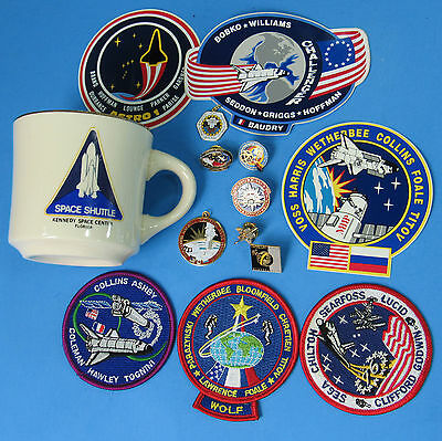 NASA LOT of 14 '90s vtg CHALLENGER Space Shuttle ASTRO 1 MUG Patches Pins Charms