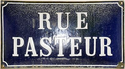 Old French enamel steel street road sign plaque Rue Pasteur c1920 convex relief