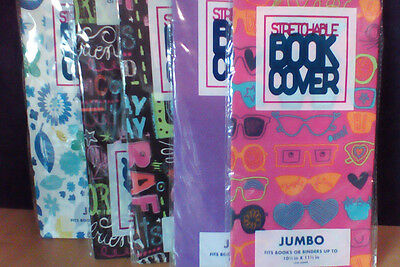 5 JUMBO Stretchable Fabric Book Covers - New