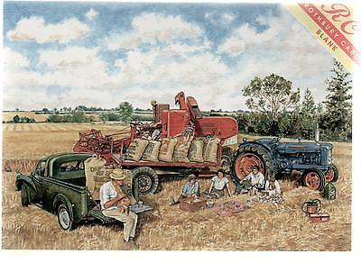 Morris Minor Pick-Up & Fordson Tractor--Print Card--Trevor Mitchell