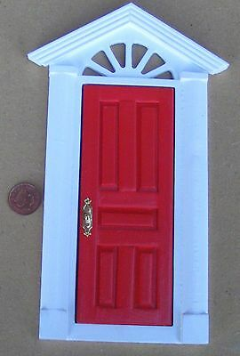 1:12th Red Painted Wooden Fairy Front Door Dolls House Miniature Accessory 95C