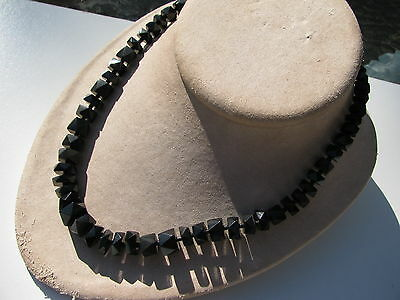 Old Antique Vintage Victorian Whitby Jet Multi Facet Graduating Beads Necklace