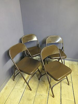 Vintage Folding Metal Chairs, Cafe, Industrial