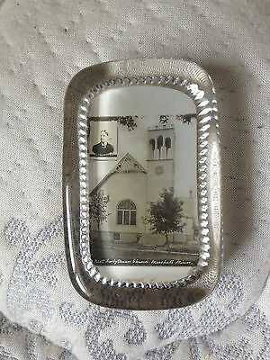 antique glass paperweight photo first Presbyterian Church Marshall Minnesota old