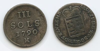 £5053 - RDR Luxembourg 3 Sols 1790 H KM#16 Scarce Leopold II.1790-1792