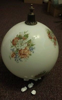Antique Brass Flower Painted Glass Shade Globe