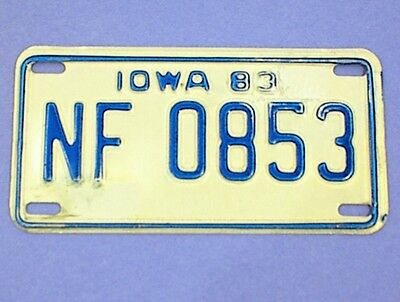 Motorcycle License Plate Iowa 83 Nf0853 1983 White Blue