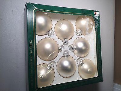 Vintage Christmas by Krebs Pearl Glass Ornaments with Silver Crowns - Box of 8